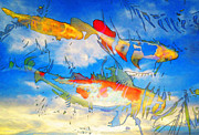 Blue Sky Mixed Media Framed Prints - Life Is But A Dream - Koi Fish Art Framed Print by Sharon Cummings
