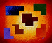 Geometric Shapes Posters - Life Magic Puzzle geometrical palette knife painting Poster by Georgeta  Blanaru