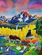 Moose Art Framed Prints - Life of the Mountains Framed Print by Harriet Peck Taylor