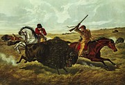 Horsemen Posters - Life on the Prairie Poster by Currier and Ives