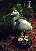 Fine Sculpture Posters - Life Size Great Blue Heron wildlife art sculpture Poster by Chris Dixon