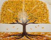 Lit Painting Originals - Life Tree-lit autumn tree with yellow leaves by Millian Glenn
