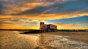 Praia De Faro Posters - Lifeboat Station Sunset Poster by Nigel Hamer