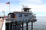 Santa Cruz Pier Framed Prints - Lifeguard Headquarters On The Municipal Wharf At Santa Cruz Beach Boardwalk California 5D23828 Framed Print by Wingsdomain Art and Photography
