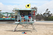 Lifeguard Shack Posters - Lifeguard Shack At The Santa Cruz Beach Boardwalk California 5D23713 Poster by Wingsdomain Art and Photography
