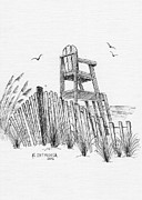 Chair Drawings Framed Prints - Lifeguard stand Framed Print by Al Intindola