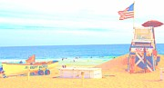 American Flag Pastels Prints - Lifeguard Station Print by Dan Hilsenrath