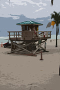 Christiane Schulze Digital Art Posters - Lifeguard Station III Abstract Poster by Christiane Schulze
