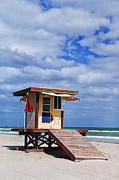 Beach Towel Posters - Lifeguard Station in Hollywood Florida Poster by Terry Rowe