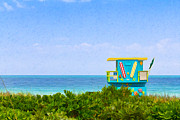 Lush Colors Framed Prints - Lifeguard Station In Miami Framed Print by Les Palenik