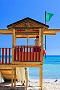 Puerto Rico Photo Prints - Lifeguard Station Puerto Rican Style Print by George Oze