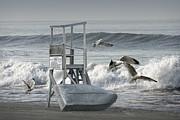 Randall Nyhof - Lifeguard Station with flying gulls at a Lake Huron Beach