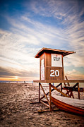 Sand Stand Framed Prints - Lifeguard Tower 20 Newport Beach CA Picture Framed Print by Paul Velgos