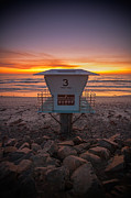 Torrey Pines Framed Prints - Lifeguard Tower at Dusk Framed Print by Peter Tellone