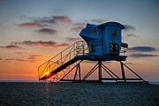 Life Guard Framed Prints - LifeGuard Tower at Sunset Framed Print by Peter Tellone