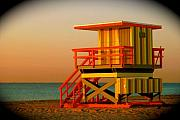 South Beach Framed Prints - Lifeguard Tower in Miami Beach Framed Print by Monique Wegmueller