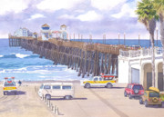 Coast Guard Painting Posters - Lifeguard Trucks at Oceanside Pier Poster by Mary Helmreich