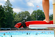 Lifeguard Watches Swimmers Print by Amy Cicconi