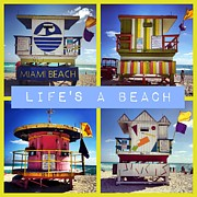 Miami Beach Framed Prints - Lifes a Beach Framed Print by Galexa Ch