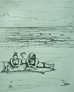 Seagull Drawings Originals - Lifes a Beach by Pete Maier
