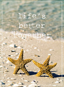 Beach Bird Posters - Lifes Better Together Poster by Edward Fielding
