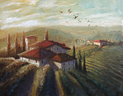 Tuscan Sunset Painting Originals - Lifestyle of Tuscany by Christopher Clark