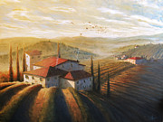 Tuscany Vineyard Oil Paintings - Lifestyle of Tuscany Large by Christopher Clark