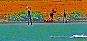 Kite Boarding Art - Lift Off on the Delta by Joseph Coulombe