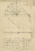 Engineering Drawings Prints - Lifting by means of pulleys of beam with extremity fixed to ground from Atlantic Codex Print by Leonardo Da Vinci