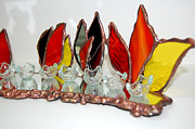 Stained Glass Glass Art Originals - Light and fire by Sophia Rodionov