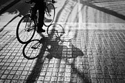 Crosswalk Posters - Light And Shadow Of A Man Ride The Bicycle Poster by Setsiri Silapasuwanchai