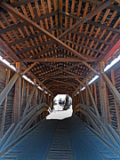 Covered Bridge Art Prints - Light At The End Of The Bridge Print by Skip Willits