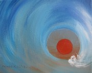 Surfing Art Painting Originals - Light at the end of the tunnel by Susan Richardson