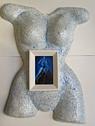 Frame Sculptures - Light Blue Body Mask Frame by Dedo Cristina
