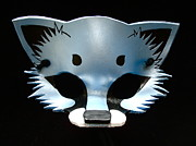 Mask Jewelry - Light Blue Metallic Fox by Fibi Bell