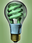 Power Painting Metal Prints - Light Bulb Metal Print by Bob Orsillo