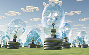 Human Intellect Prints - Light Bulb heads and dollar symbol clouds Print by Bruce Rolff