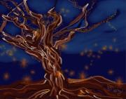 Fantasy Tree Art Print Mixed Media Posters - Light Force Poster by Mary Gravelle