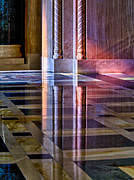 Glass Reflecting Framed Prints - Light from stained glass windows on wall of church Framed Print by Steve Heap