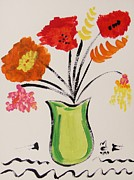 Williams Mixed Media Posters - Light Green Vase Poster by Mary Carol Williams