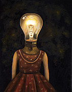 Lightbulb Prints - Light Headed Print by Leah Saulnier The Painting Maniac