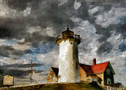 Massachusetts Mixed Media Posters - Light House In A Storm Poster by Zeana Romanovna