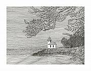 Shore Drawings - Light house on San Juan Island Lime Point Lighthouse by Jack Pumphrey