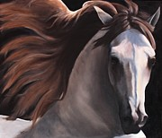 Light Horse Painting Originals - Light in the Dark by Debra Arney