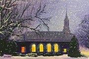 Snowy Night Painting Metal Prints - Light in the Darkness Metal Print by Glenn Harden