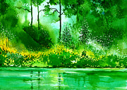 Peaceful Scene Paintings - Light N GreensR by Anil Nene