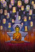 Tibetan Buddhism Paintings - Light of Buddha by Yuliya Glavnaya