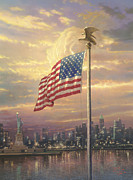 Flag Painting Prints - Light of Freedom Print by Thomas Kinkade