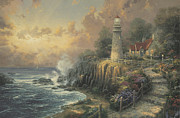 Lighthouse Sunset Posters - Light of Peace Poster by Thomas Kinkade
