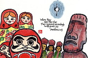 Daruma Prints - Light of the World Print by Dosanko Debbie